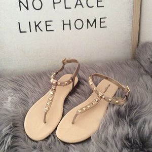 Karl Lagerfeld Pierre Leather Gold Sandals Size 10